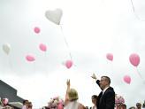 Largada com balões personalizados - Arco Íris