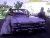Noivos em pose na dianteira de um carro antigo de Filipe Alves - Filipe Alves Classics