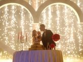 Cascata de fogo para o corte do bolo - A. Veiga Casamentos Mágicos