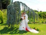 Casal de noivos em pose de jardim verde com Foto Aguiarense - Foto Aguiarense